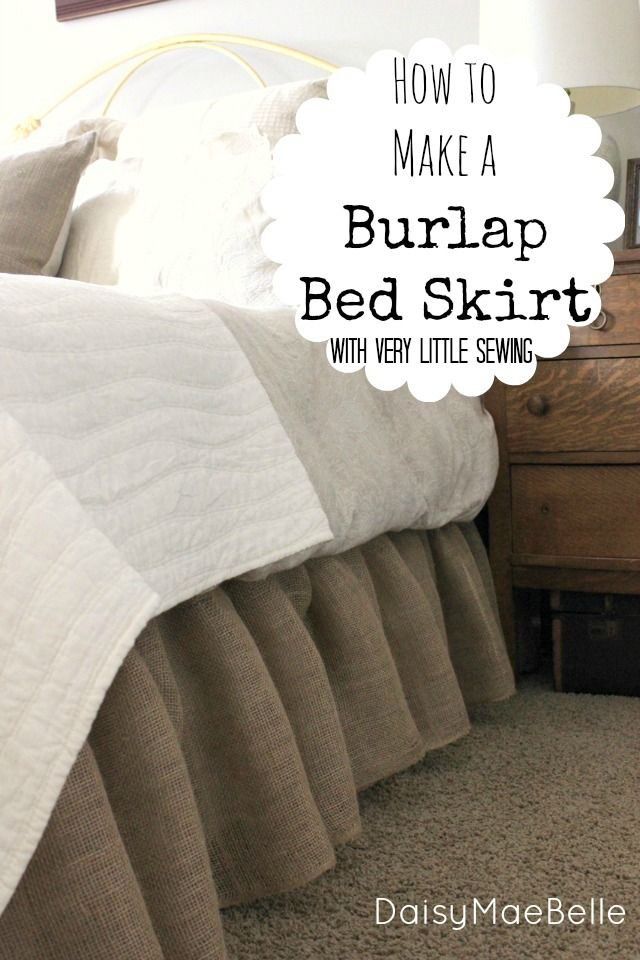 How to Make a Burlap Bed Skirt - pinned and sewed right on top of an existing bed skirt
