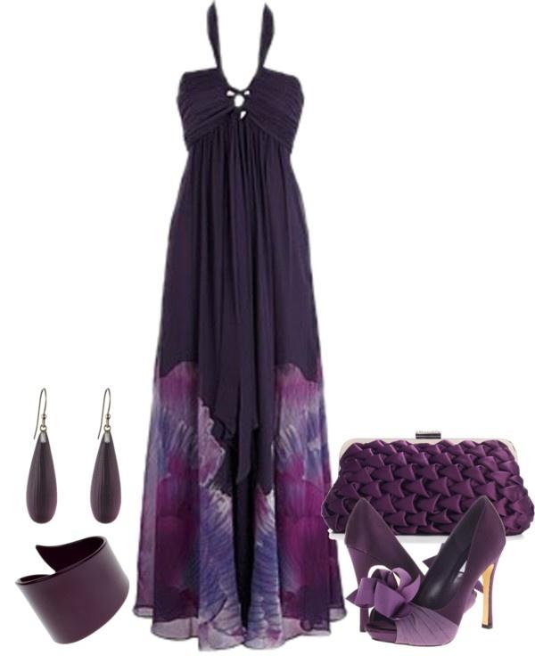 """Beautiful Purple Maxi dress set"" by lovelyingreen on Polyvore"