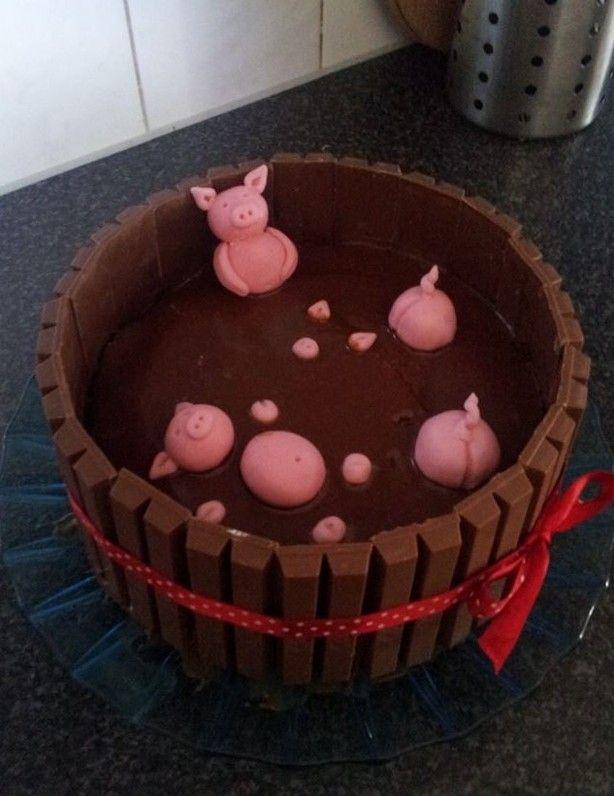 Biggetjes in de modder //  Leuke taart voor een kinder verjaardag