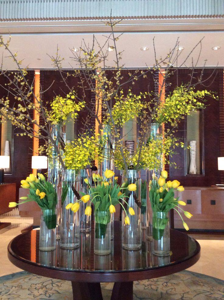 Lobby flowers at pudong shangri la shanghai elegant