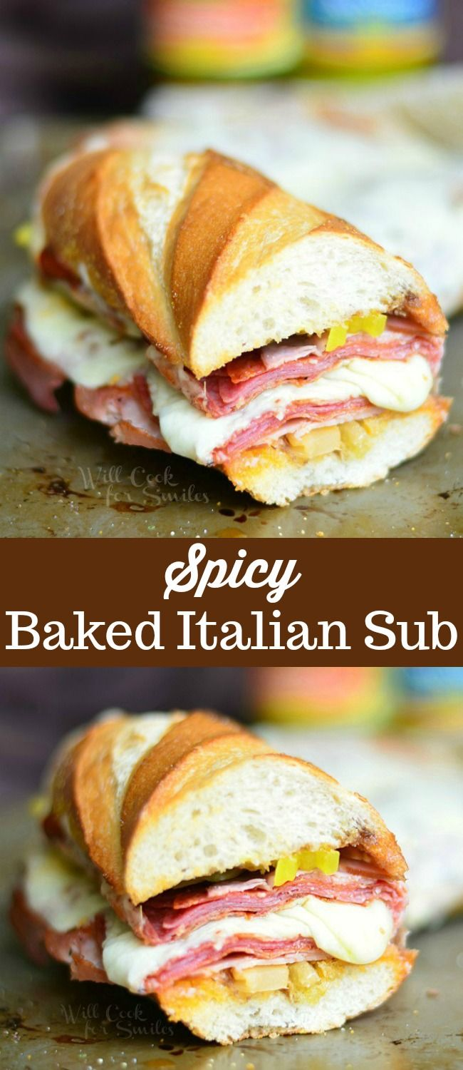Spicy Baked Italian Sub Sandwich Recipe. Made with all the great Italian flavors…