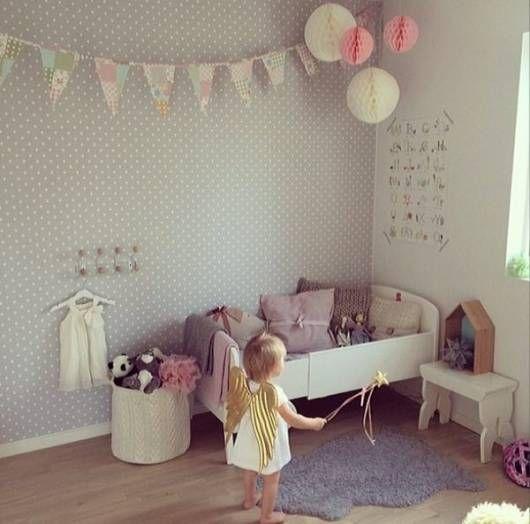 papel de parede bolinhas quarto menina