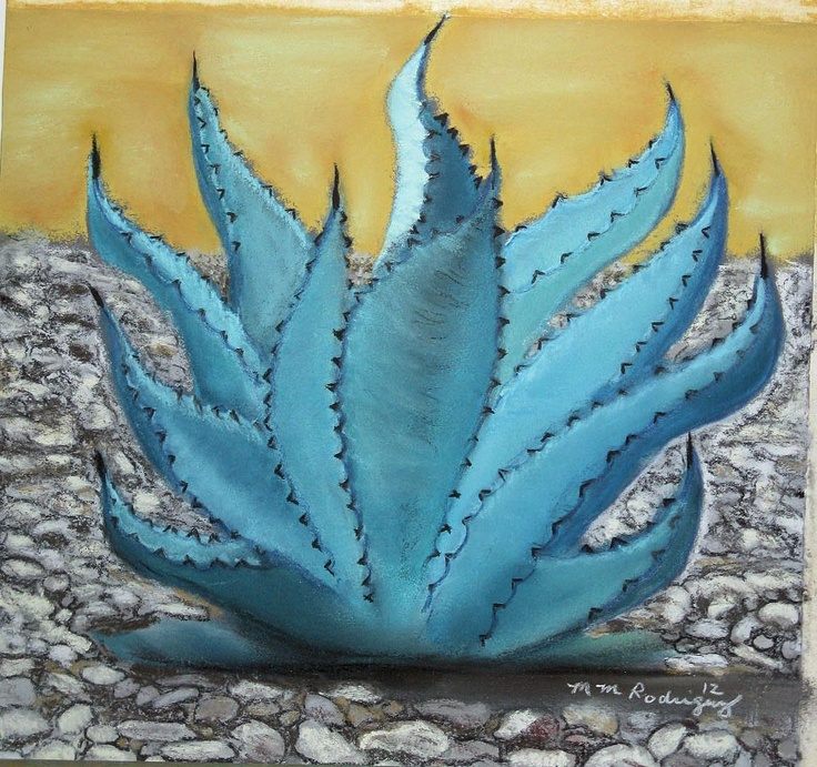 Original Art -  My Cactus Garden 1 - Blue Agave - Original Soft Pastel inspired by a photo of my cactus garden: Cacti Garden, Pastel Inspiration, Soft Pastels, Photo