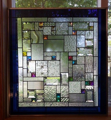 Dichroic Fantastica Stained Glass Window Panel Geometric Abstract EBSQ