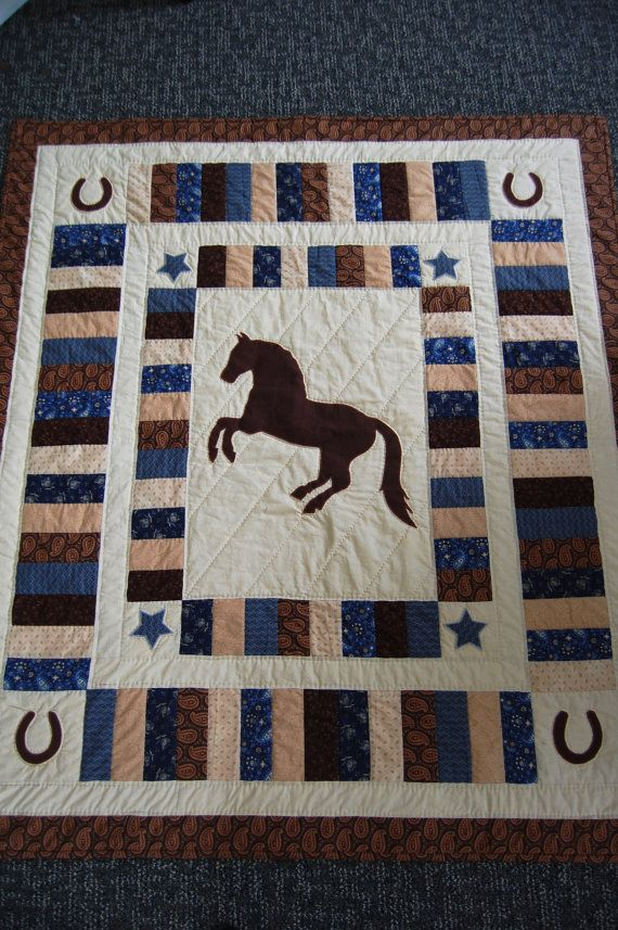 Horse Quilt Appliquéd and Hand Quilted by chimeracustomquilts