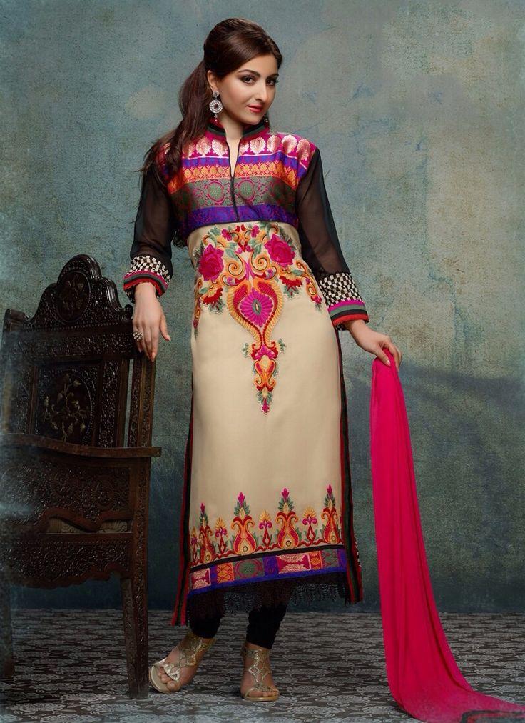 Product Description Item Code: : 6934  Celebrity : Soha Ali Khan   Occasion : Festival Reception   Color : Beige   Fabric : Georgette   Work : Resham Lace   Catalog No. : 3100