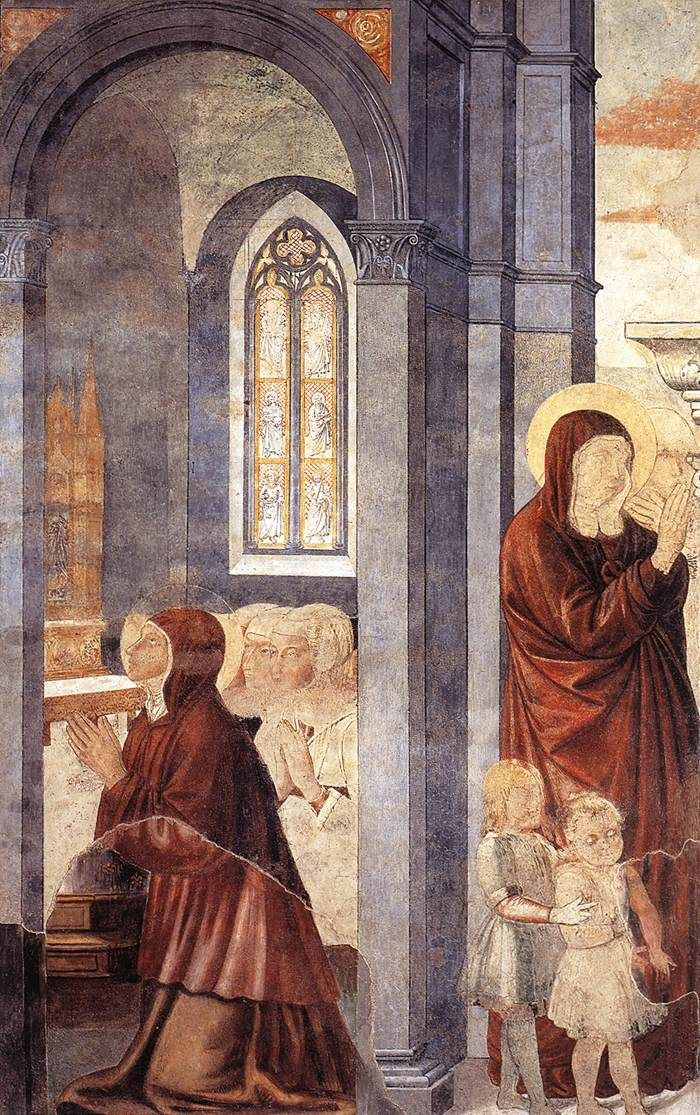 St Augustine Leaving his Mother (scene 3, east wall). 1464-65 Fresco, 220 x 230 cm Apsidal chapel, Sant'Agostino, San Gimignano.