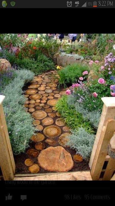 Secret garden ideas, love the tree trunk path.