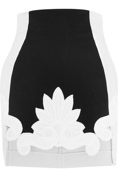 Antonio Berardi | Guipure lace-trimmed satin and stretch-crepe mini skirt | NET-A-PORTER.COM