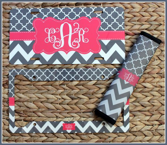 License Plate & License Plate Frame Seat Belt by ChicMonogram