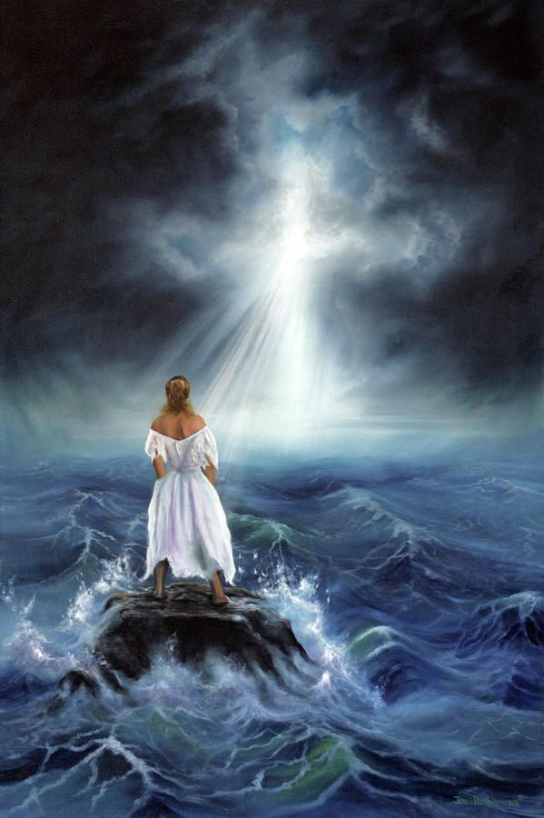 Lady standing on a rock in the middle of the ocean looking on at Cross. Prophetic Art Paintings for Sale - Fine Art America