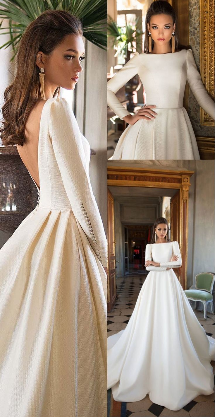 vintage long sleeves spring wedding dresses for bride, country a line church bri…