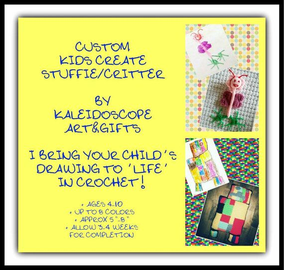 Custom Kids Create Stuffie/Toy/Pillow from your Child's Design