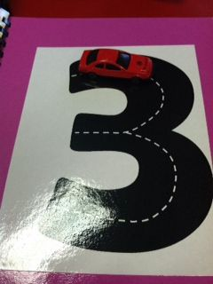 tracing letters and numbers with Matchbox cars