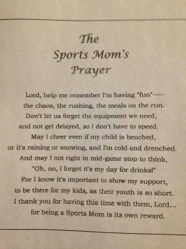 Sports Mom Quotes | Sports Mom's Prayer