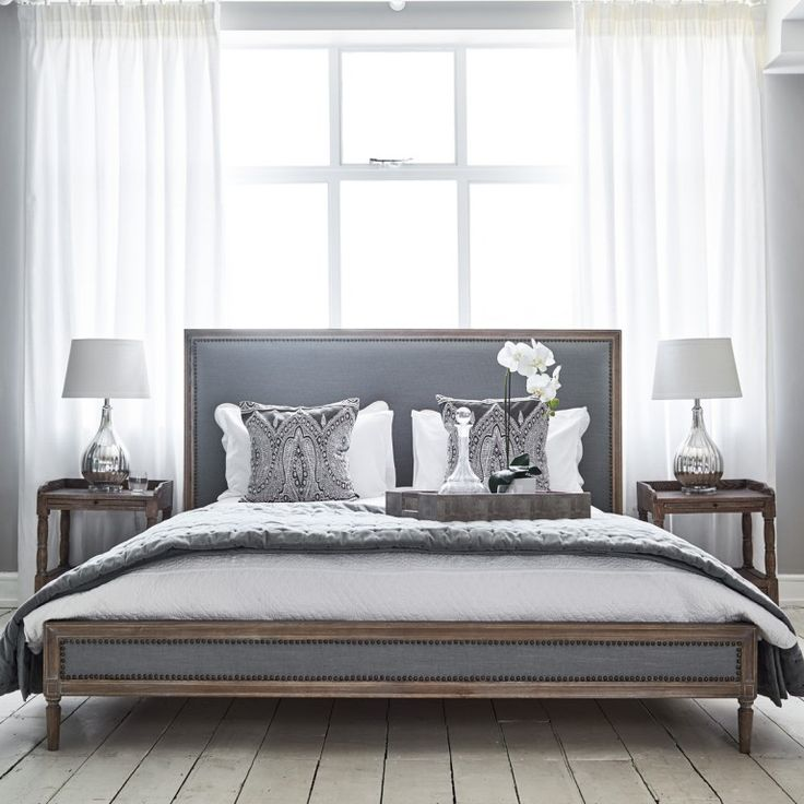 Boston Bed - Grey Linen and Oak | Brissi