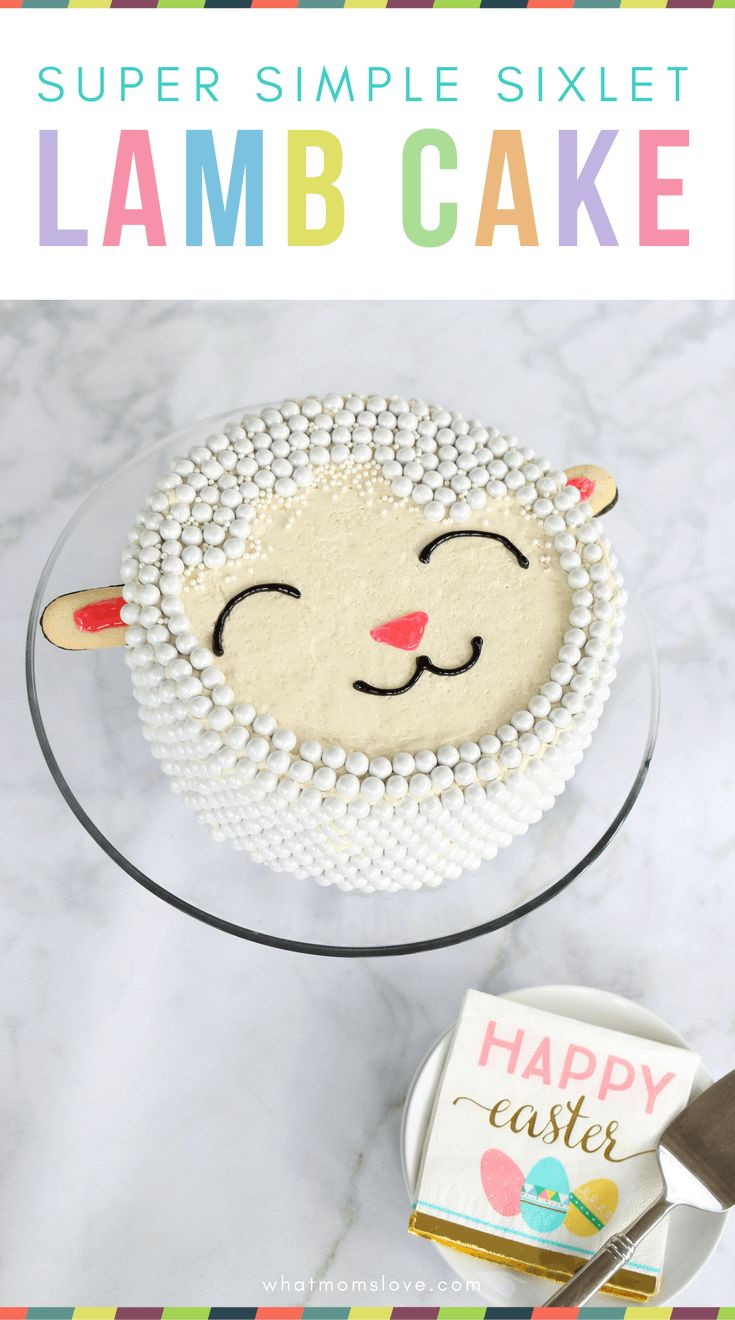 How to Make an Easy Easter Lamb Cake. Simple tutorial and recipe for a super cute sheep cake made without a mold | Easter cake ideas for kids - forget the bunny and chick, this DIY lamb cake is so easy to make and decorate using candy Sixlets!