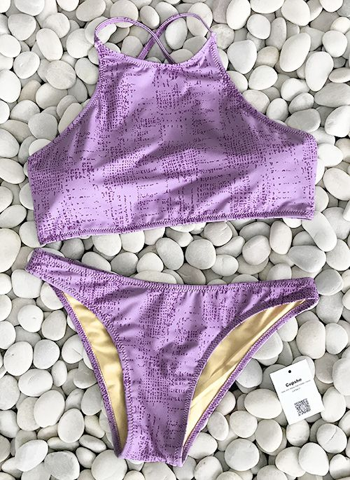 Violet is the color of wisdom, peace and strength. Your must-have element for your wardrobe! $19.99 Only with free shipping! This cute tankini set is detailed with adjustable strap&back hook design! Check more pieces on Cupshe.com