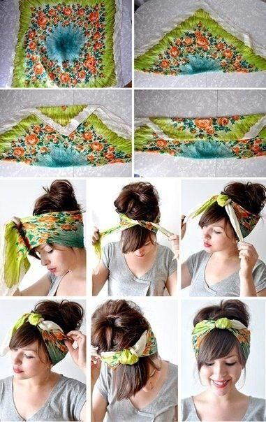 How to tie a Scarf into a Turban Headband Not sure how it would look with no bangs and curly hair...willing to try!