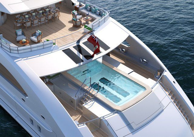 Luxury-yacht manufacturer Heesen has designed a 70-meter-long ship with an infinity pool, waterfall, and enough deck space for an outdoor cinema or helipad. #yachtluxury