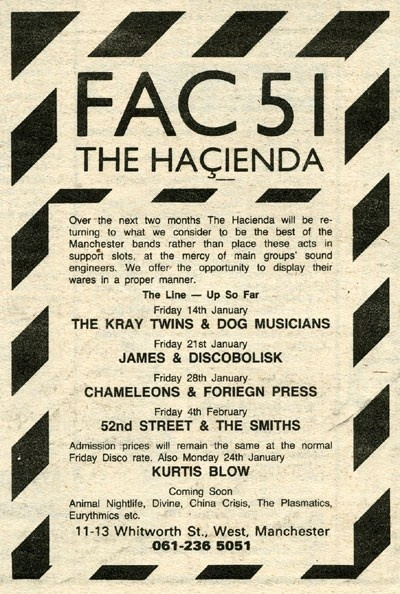 Manchester District Music Archive - The Chameleons, James, The Smiths advert, The Hacienda - 28.01.1983