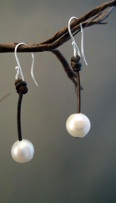 Pearl on leather earrings