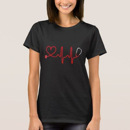 Stethoscope Heart Nurse T Shirt - Registered Nurse - click/tap to personalize and buy