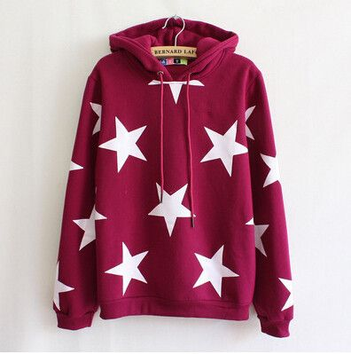 """Cute fashion star hoodie fleece pullover Cute Kawaii Harajuku Fashion Clothing & Accessories Website. Sponsorship Review & Affiliate Program opening!so fashionable and sweet, use this coupon code """"Fanniehuang"""" to get all 10% off"""