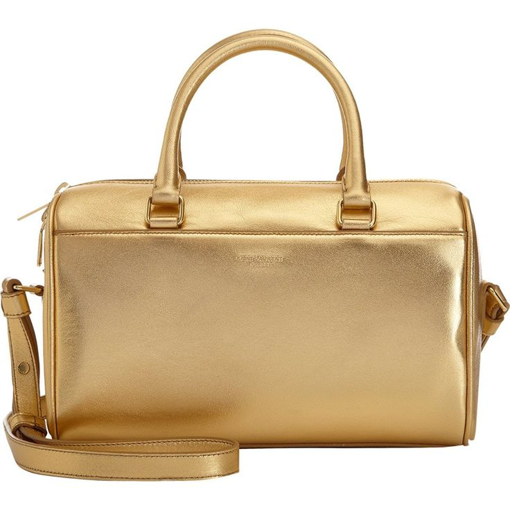 Saint Laurent Classic Sac Mini Baby Duffle Shoulder Bag Gold Metallic Leather Satchel Purse 330958