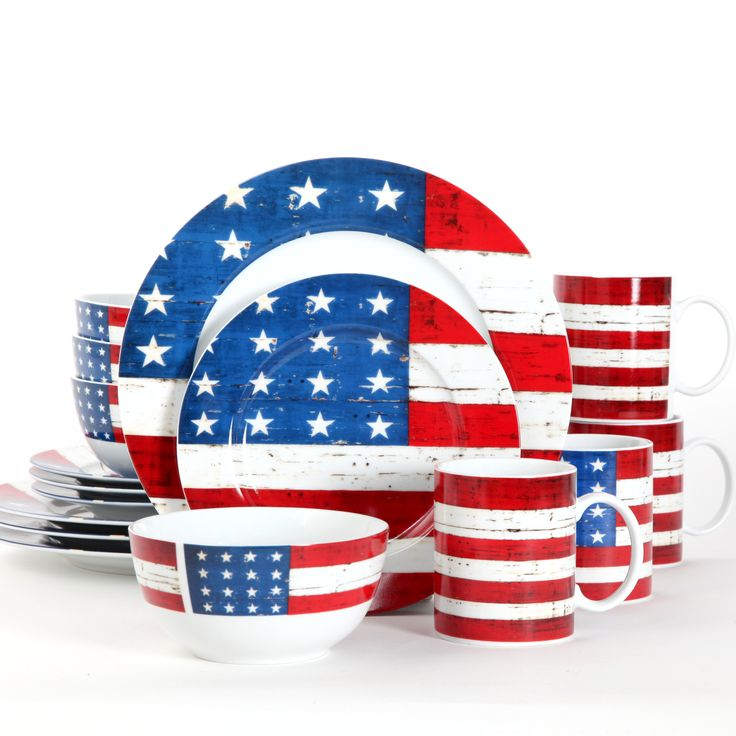 This Dishwasher And Microwave Safe Dinnerware Set Features Beautiful Imagery Of The American