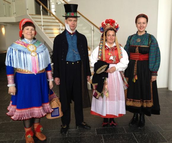 """Here I am (to the right) with some of my friends, wearing a """"beltestakk"""" from Telemark."""