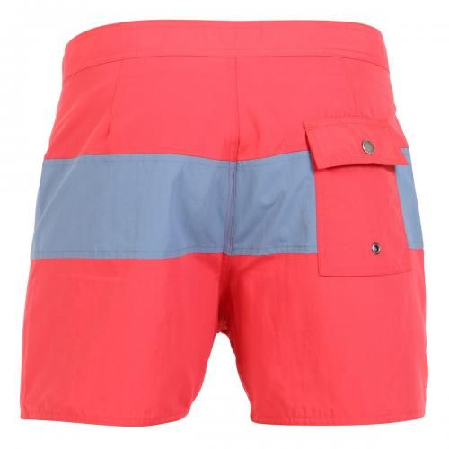 RED NYLON MID-LENGTH BOARDSHORTS WITH GRAY BAND Grant red nylon swim shorts with contrast gray band. Fixed waist with drawstring and Velcro closure Back snap-button pocket. Inside lining. Saturdays Surf NYC label stitched on hem. COMPOSITION: 100% NYLON. Model wears size 32, he is 189 cm tall and weighs 86 Kg.