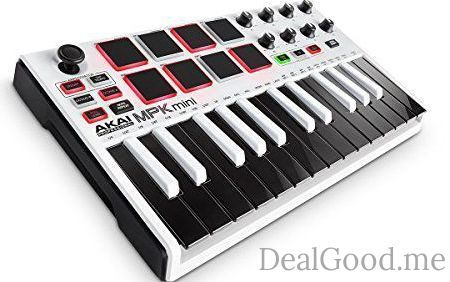 Akai Professional MPK Mini MKII White | 25-Key Ultra-Portable USB MIDI Drum Pad & Keyboard Controller with Joystick VIP Software Download Included  Limited Edition