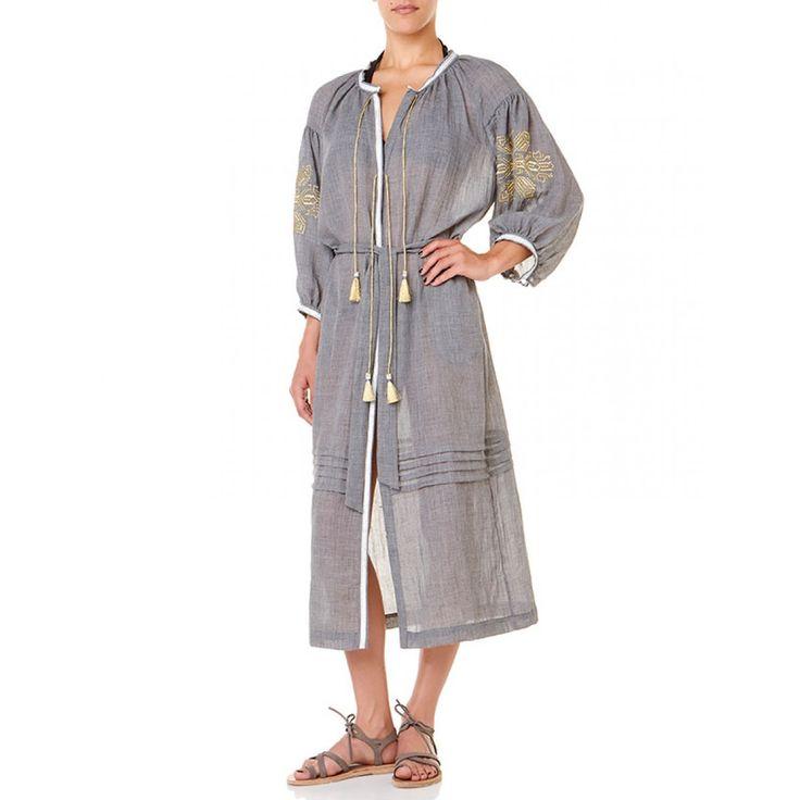 Lefkada Long Shirt Dress - Grey & Gold - Ancient Kallos - A-D - Designers