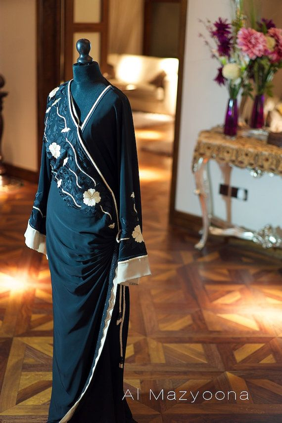 Al Mazyoona Black Floral Draped Abaya Dubai Arabic by Almazyoona