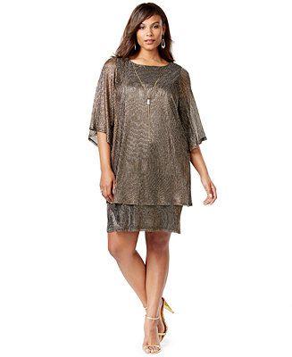 Jessica Howard Plus Size Popover Cape Dress - Dresses - Women - Macy's