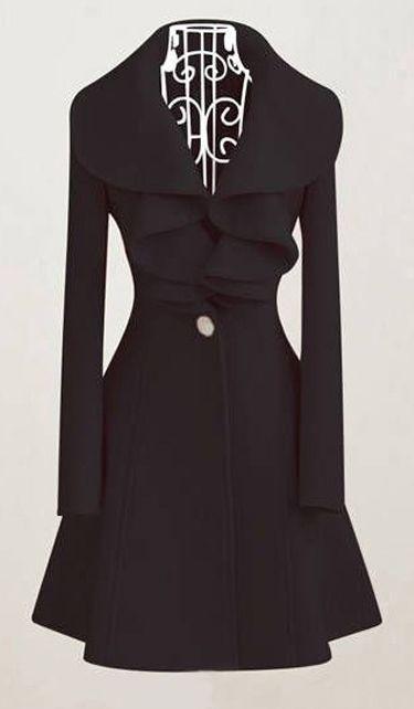 Ruffled collar coat