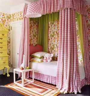 Pink, green, orange, white, yellow, girls bedroom by francine