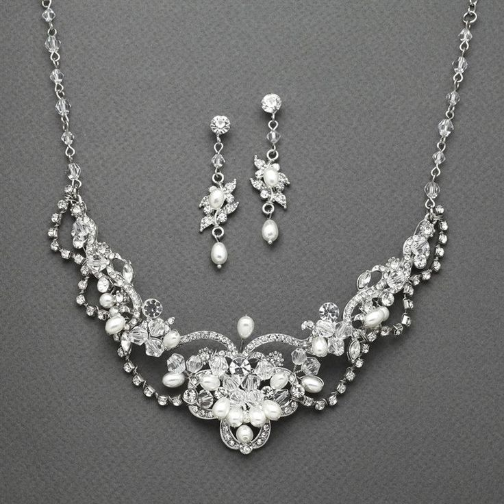 Freshwater Pearl & Crystal Wedding Necklace and Earrings Set - super affordable and lovely