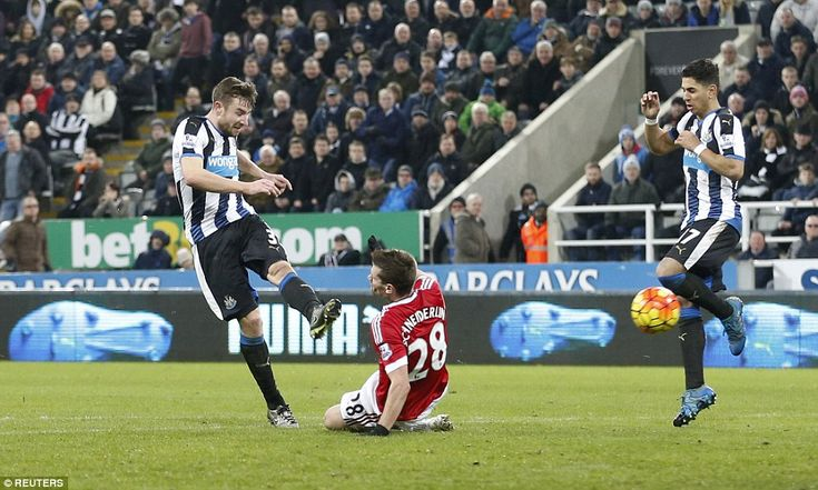 Newcastle United 3 Manchester United 3: Newcastle's Paul Dummett just beats the despairing slide of Morgan Schneiderlin to send a left-footed effort flying into David de Gea's top corner to make it a 3-3 draw