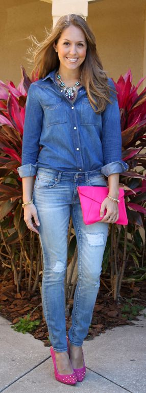 denim on denim outfit - I'd try with dark flats, but keep the pink for purse or lips!