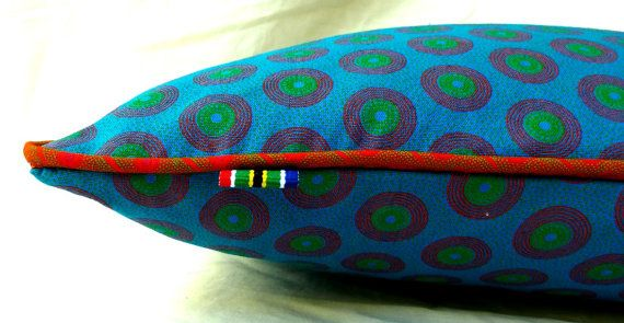 Blue African cushion cover  Handmade in South by MathildeAndCo, £17.00