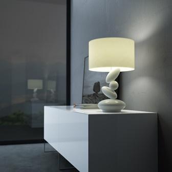 Lámpara blanca de mesa con detalle de piedras