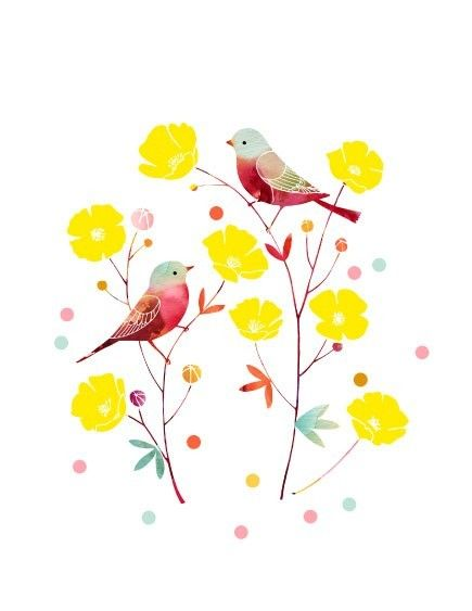 Watercolor Illustration Print of Birds and Flowers