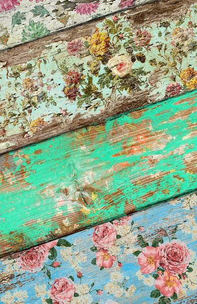 Wallpaper on wood. Use sandpaper to distress. Use on frames, tables, etc. Cute!