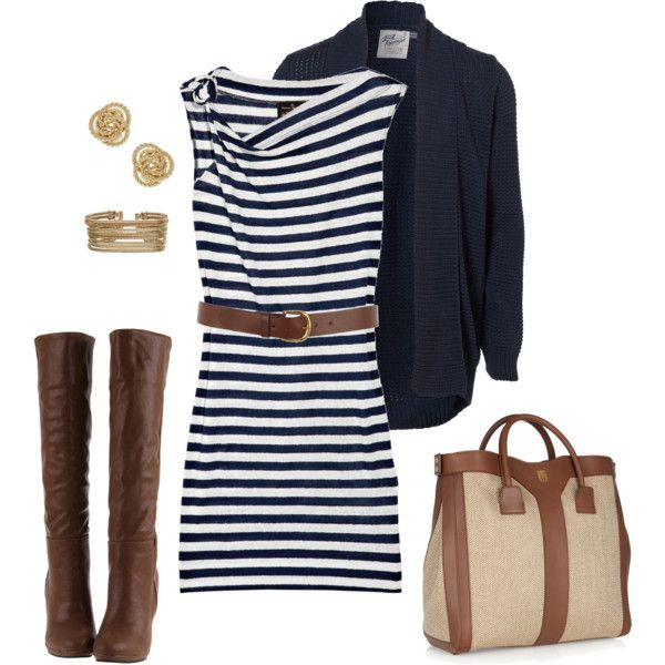 Navy, white, and brown fall outfit.