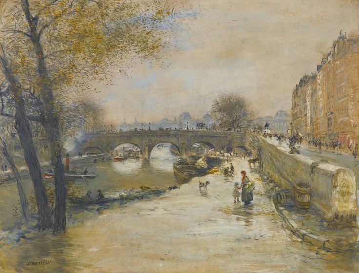 Jean-François Raffaëlli 1850 - 1924 FRENCH LE QUAI DEVANT LE PONT NEUF signed JF RAFFAËLLI lower left oil on canvas 65 by 84cm., 25½ by 33in.: