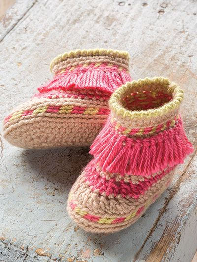 New Crochet Patterns - ANNIE'S SIGNATURE DESIGNS: Baby Moccasins pattern designed by Lena Skvagerson for Annie's. Order here: https://www.anniescatalog.com/detail.html?prod_id=133645&cat_id=2402