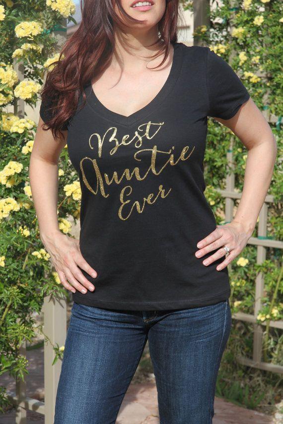 BEST AUNTIE EVER Glitter Gold Shirt Best Auntie by TheStickerPlace