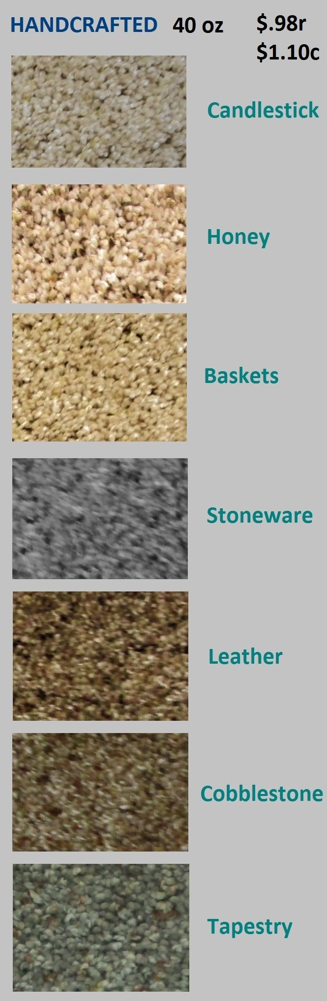 Discounted first quality carpet and pad. Many styles and colors to choose from.